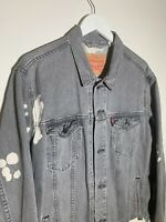 Vintage Levis Denim Trucker Jean Jacket Mens Size XL Bleached Acid Wash RARE