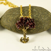 Garnet Gemstones Tree Of Life Necklace Brass Wire Wrapped Pendant