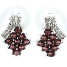 Fancy Purple Amethyst White Zircon Ladies Present Silver Earrings