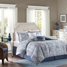 Stella Full Size 6pc Comforter Set in Blue and Beige Paisley Printed 100% Cotton
