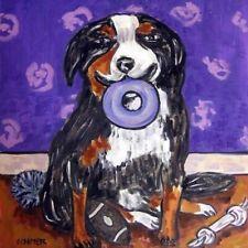 Bernese mountain dog art tile coaster gift modern Jschmetz