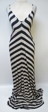 NEW Aqua Bloomingdales Gray Oatmeal Striped V Neck Maxi Dress Sz M $98