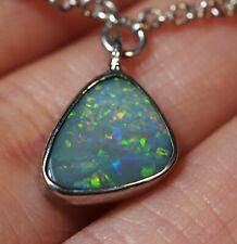 Australian Natural Mintabie Dark Based Opal Silver 925 Bracelet Hallmarked