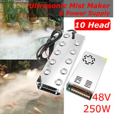 Ultrasonic Mist Maker 10 Head Fogger Water Fountain Pond Atomizer Air Humidifier
