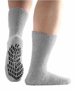 Non Skid Hospital Socks/No Slip Socks – Best Fuzzy Gripper, Grey, Size X-Large