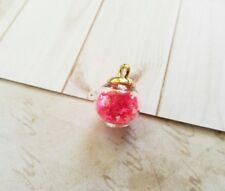 Glass Charm Pendant Glass Globe Star Charm Glass Ball Pendant Crystal Ball Pink