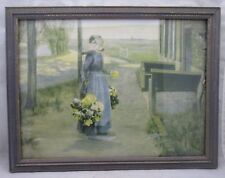 Dutch Woman with Flowers VERY OLD PRINT Blue & Gold Wood Frame