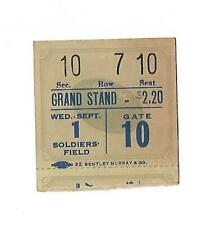 Vintage 1937 Weds. Sept. 1st  Soldiers Field Ticket Stub  Grand Stand Seat