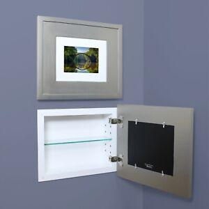 "Landscape 14""W X 11""H Recessed Medicine Cabinet w/ picture frame door NO MIRROR"