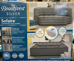 Beautyrest Silver Sofaire Convertible Sofa Sleeper Full Size w/ Pump NEW ~ Read!