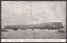 Postcard Royal Navy Battleship HMS Dreadnought Just Launched February 10th 1906