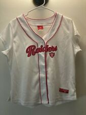 NFL Team Las Vegas Raiders Football-  Women's Baseball Jersey : White & Pink- XL