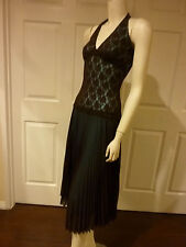 ROMANTIC BROWN LACE COVERED HALTER DRESS W/ ACCORDION PLEATS