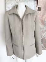 Gallery Beige Tan Quilted Zip Up Womens Jacket Mid Weight Length Size Large