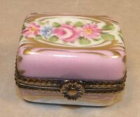 New rectangular with pink flowers, Nr.24,  Porcelain Limoges Box NEW