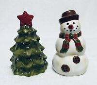 Winter Wonderland Tabletops Unlimited Tree And Snowman Salt And Pepper Shakers