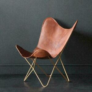 BUTTERFLY CHAIR  Industrial retro occasional Chair- Tan Leather - Gold Base