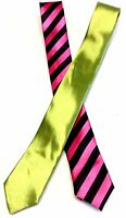 Striped Black And Hot Pink & Lime Green Skinny Necktie Tie Set Of 2