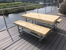 Rustic Solid Sleeper Outside Table And Benches Garden Furniture