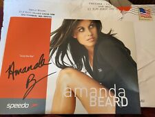 AMANDA BEARD SIGNED 5x7 SPEEDO SEIZE THE DAY PROMOTIONAL CARD MINT OLYMPIAN