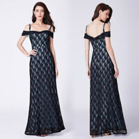 Ever-Pretty Lace Cold-Shoulder A-Line Long Evening Dresses Prom Party Dresses
