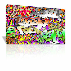 Graffiti tags mural teenager canvas framed  - many sizes - C004