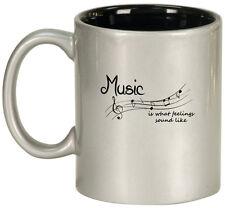 11oz Ceramic Coffee Tea Mug Glass Cup Music Is What Feelings Sound Like