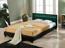 Design LED Grand lit sommier tapissier 200x200cm lit noir cadre cuir-synthétique