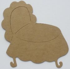 "{4} *BABY BASSINET* Crib Unfinished Bare Chipboard Die Cuts - 4""  x 4 3/4"""