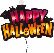 """16"""" Lighted """"Happy Halloween"""" Sign Window Silhouette Decoration"""
