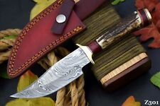 Custom Damascus Steel Hunting Knife Handmade With Stag Horn Handle (Z301)