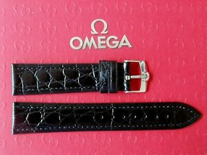 NOS 18MM BLACK GATOR PRINT CALF LEATHER WATCHBAND WATCH BAND STRAP SILVER BUCKLE