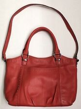TIGNANELLO Orange Pebbled Leather Tote Shoulder Bag Purse Double Handle Satchel