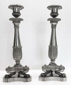 Paire de  BOUGEOIRS bronze argenté empire  XIXème siècle CANDLESTICK