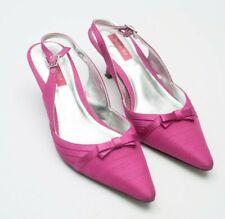 Jacques Vert Zapatos 4 Hot Pink ESLINGA vuelta Sandalias De Boda Tejido Slub arco de satén