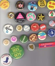 26 OLD  pin Advertising pinback NOSTALGIA Politics Entertainment HUMOR  etc...