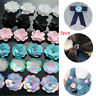5Pcs Plastic&Cotton Flower Appliqued Patches with Rhinestone Sequins DIY Craft A