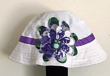 Little Girl's Hand-Decorated Owl themed White Bucket Hat Size 2-6 Years