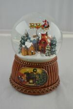 "Roman 5"" Christmas Village with Rotating Sleigh Musical Water Globe"