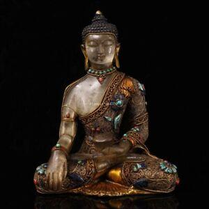 8.5''tibet white Rock Crystal Quartz silver turquoise red coral Sakyamuni buddha