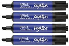 Berol Black Thick Chisel Drywipe Marker Pens Whiteboard Dry Wipe White Board x 4