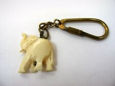 Vintage Keychain: Carved Elephant Design