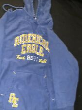 Men's AMERICAN EAGLE Track And Field Sweatshirt Hoodie Size Xl Blue Yellow