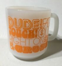 Vintage 70's Glasbake Orange 10 Oz Coffee Mug Dude Far Out Right On Gross