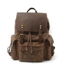 Men Women Backpack Waterproof Canvas Leather Shoulder Bag Rucksack Daypack Retro