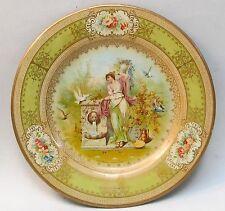 "1905 VICTORIAN SCENE Vienna Art Plates 10"" tin tray ART WALL PAPER MILLS advert."