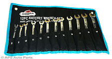 12 pc Ratchet Spanner Set 8-19mm 72 Teeth Wrench Ratcheting Tool Set Garage Kit