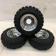 "Honda ATC 70 DWT Polished Aluminum Front and Rear Wheels Rims Snow Hog Tires 18"""