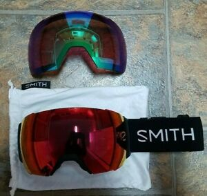 Smith I/O Mag XL Chromapop Goggles Black w/ Two Lenses--Sun Red & Storm Rose
