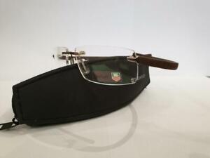 Tag Heuer Reflex Wide TH 5211 002 Brown Rimless Brille Eyeglasses Frames Size 56